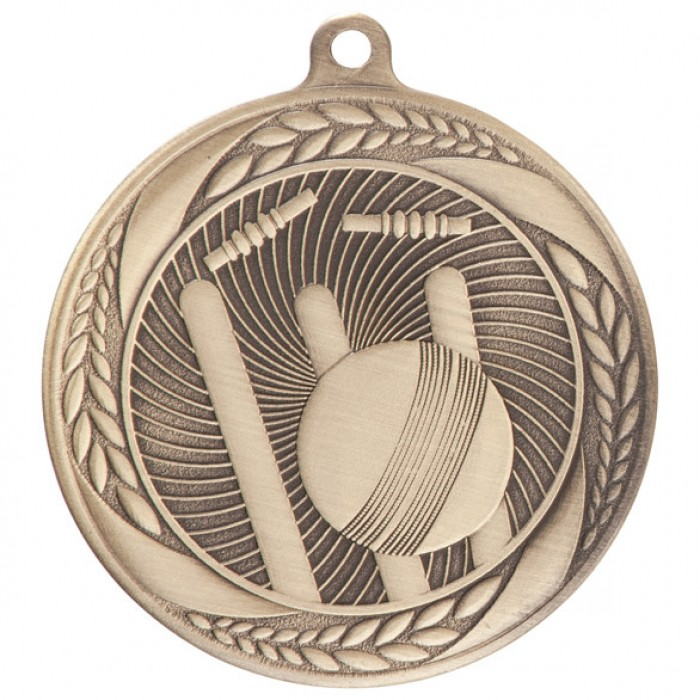 CRICKET MEDAL 55MM - GOLD, SILVER & BRONZE
