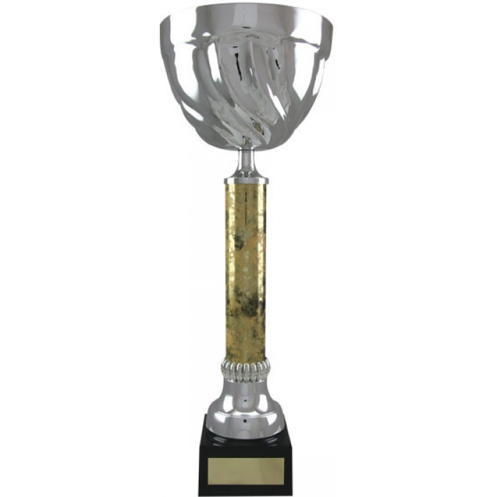 SILVER METAL TROPHY CUP ON BLACK & GOLD COLUMN-AVAILABLE IN 5 SIZES