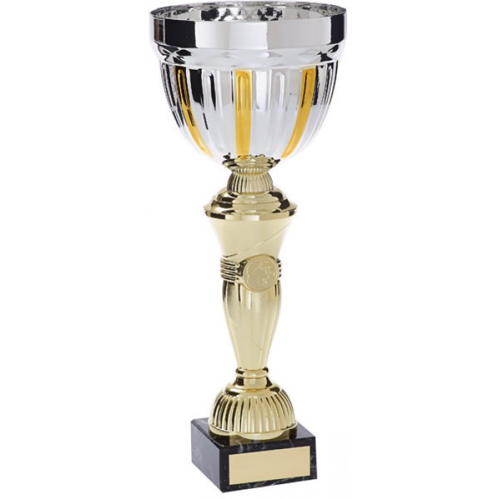 SILVER/GOLD METAL TROPHY CUP WITH GOLD RISER AVAILABLE IN 4 SIZES