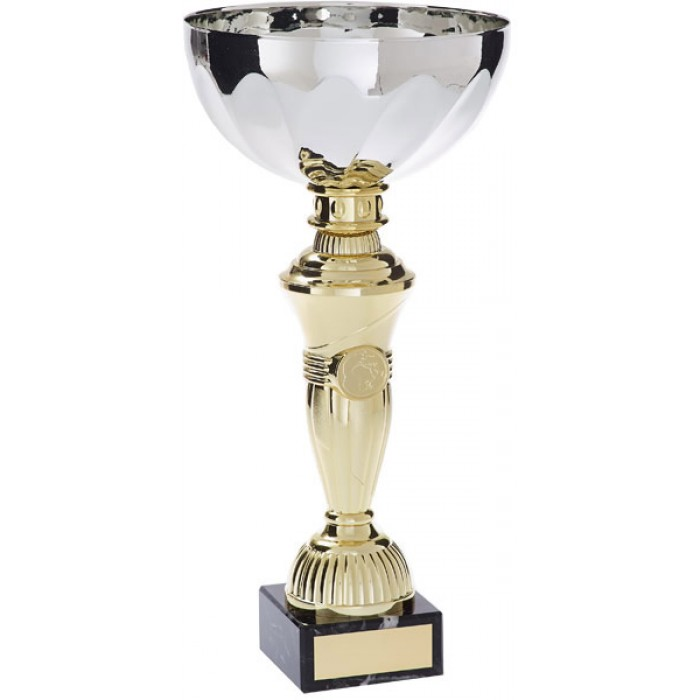 SILVER METAL CUP ON GOLD RISER AVAILABLE IN 5 SIZES