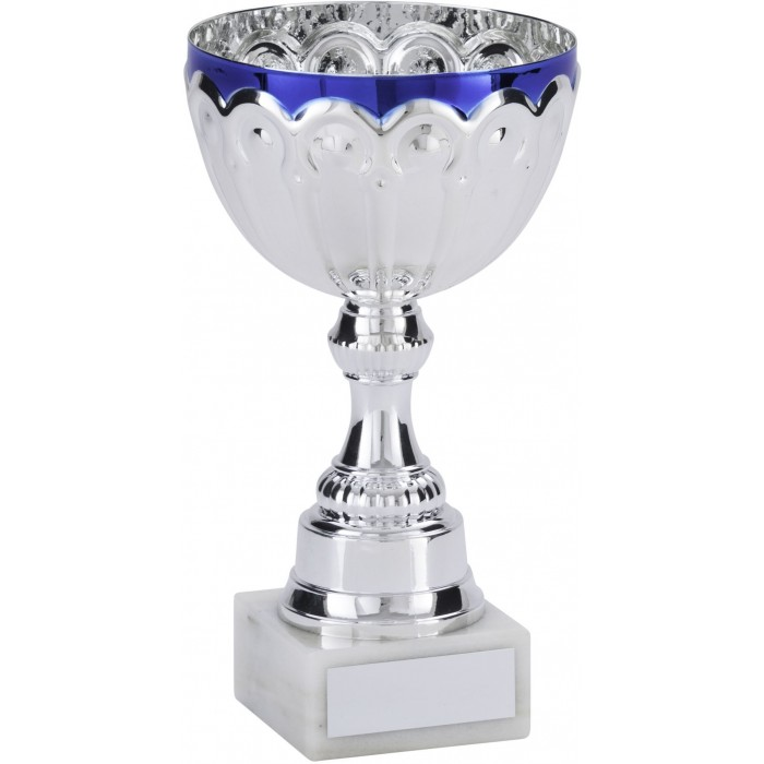 SILVER/BLUE METAL TROPHY CUP ON SCULPTED RISER AVAILABLE IN 4 SIZES