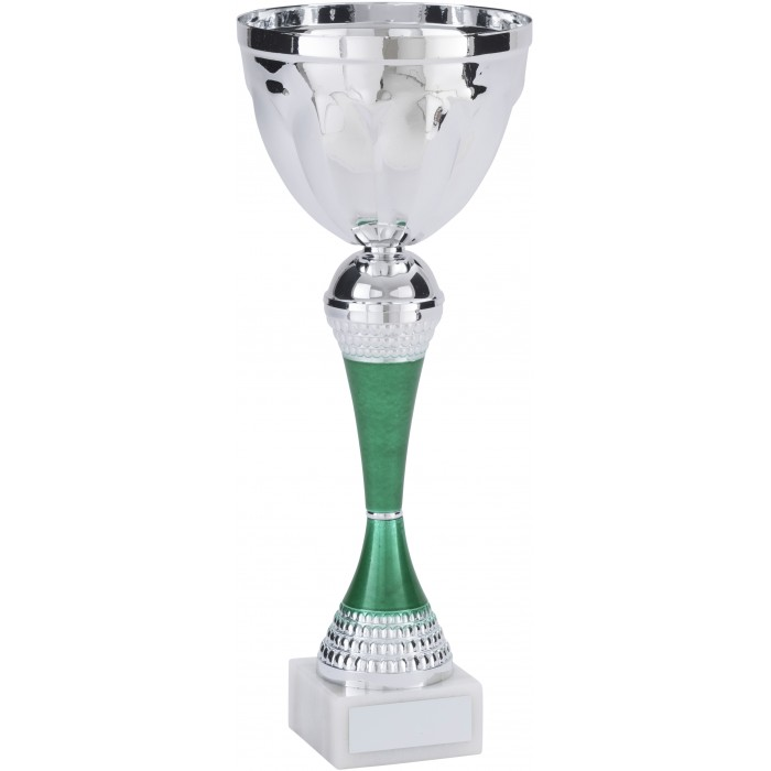 SILVER METAL CUP ON GREEN RISER AVAILABLE IN 4 SIZES