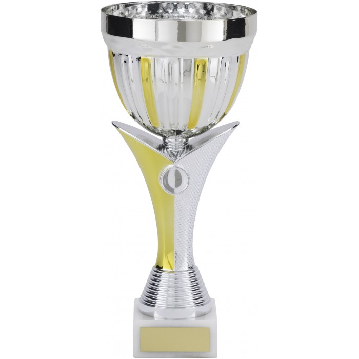 SILVER & GOLD METAL TROPHY CUP ON NEW V RISER AVAILABLE IN 4 SIZES