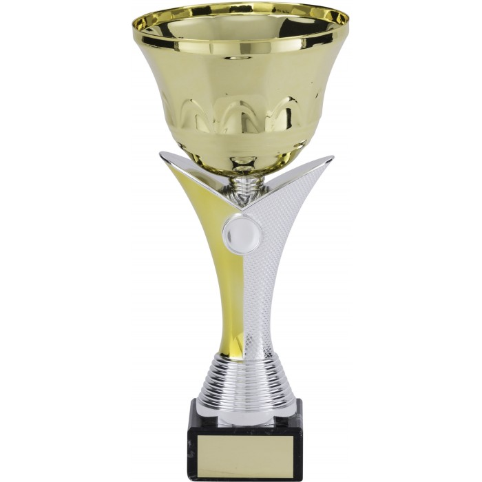 GOLD METAL TROPHY CUP ON NEW V RISER AVAILABLE IN 5 SIZES