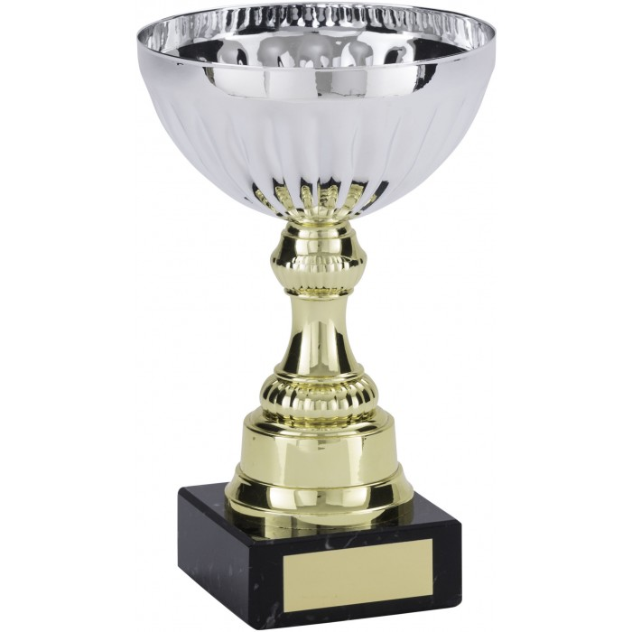SILVER METAL CUP ON SCULPTED GOLD RISER AVAILABLE IN 5 SIZES