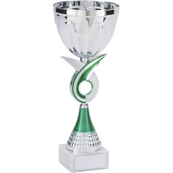 SILVER METAL TROPHY CUP ON A GREEN SWIRL RISER-AVAILABLE IN 4 SIZES