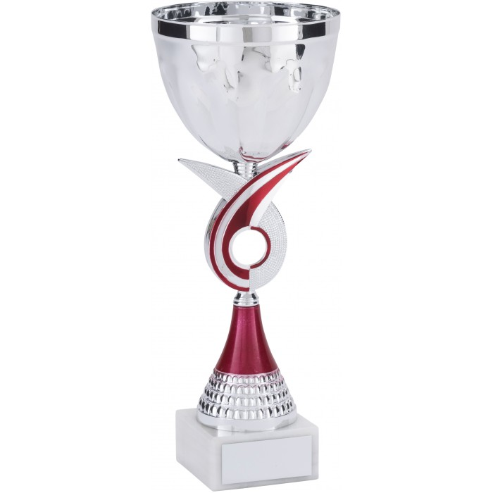 SILVER METAL TROPHY CUP ON A RED SWIRL RISER-AVAILABLE IN 4 SIZES