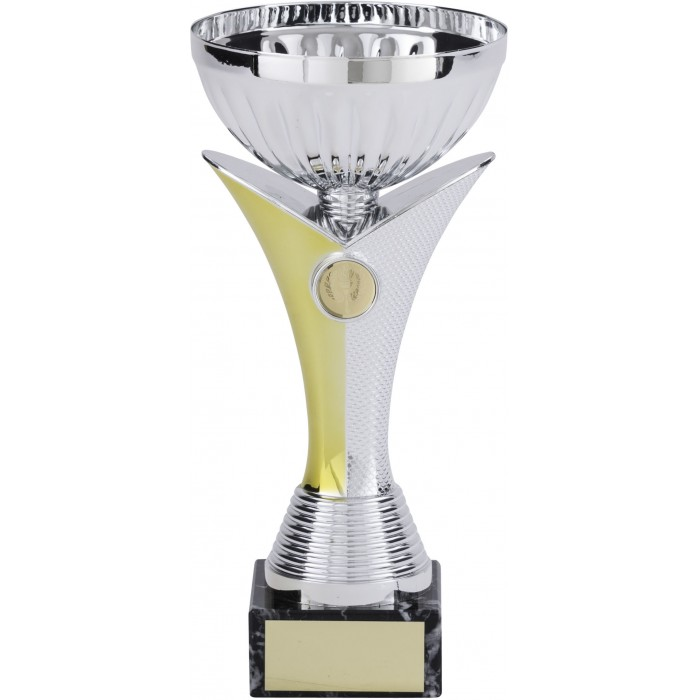 SILVER METAL TROPHY CUP ON GOLD/SILVER V SHAPED RISER-AVAILABLE IN 4 SIZES