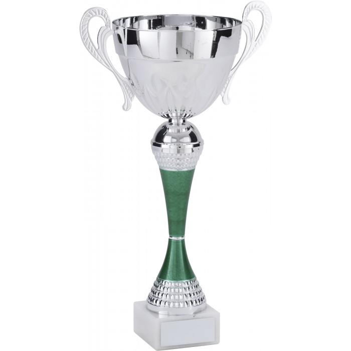 SILVER METAL TROPHY CUP ON GREEN RISER - 3 SIZES / 5 COLOURS