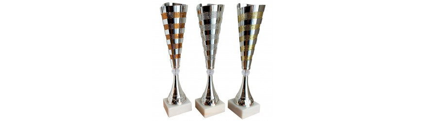 STUNNING METAL DUAL COLOUR CONICAL TROPHY CUP 46CM TALL