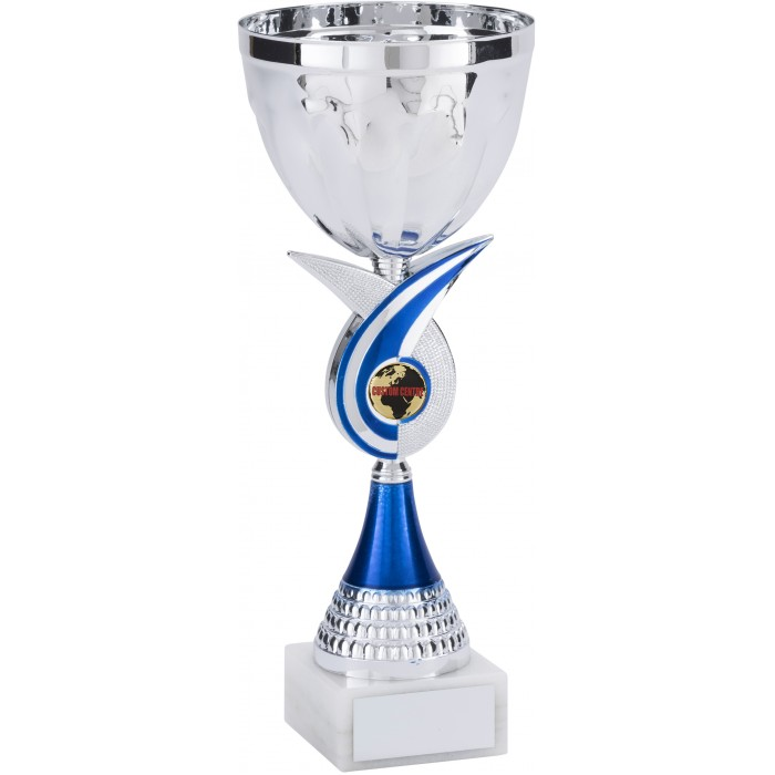 BLUE SWIRL METAL TROPHY CUP WITH CUSTOM CENTRE - AVAILABLE IN 4 SIZES
