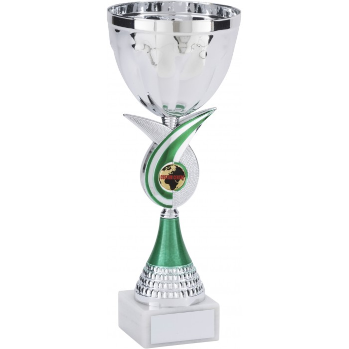 GREEN SWIRL METAL TROPHY CUP WITH CUSTOM CENTRE - AVAILABLE IN 4 SIZES