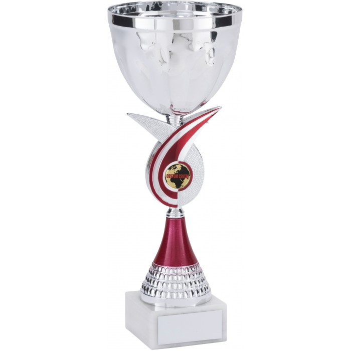 RED SWIRL METAL TROPHY CUP WITH CUSTOM CENTRE - AVAILABLE IN 4 SIZES