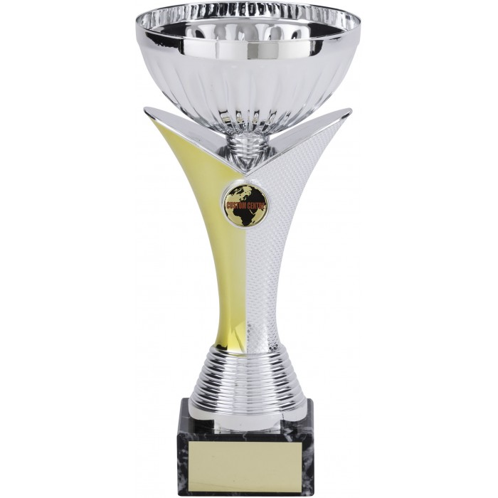 SILVER METAL TROPHY CUP ON GOLD/SILVER V-SHAPED RISER WITH CUSTOM CENTRE AVAILABLE IN 4 SIZES