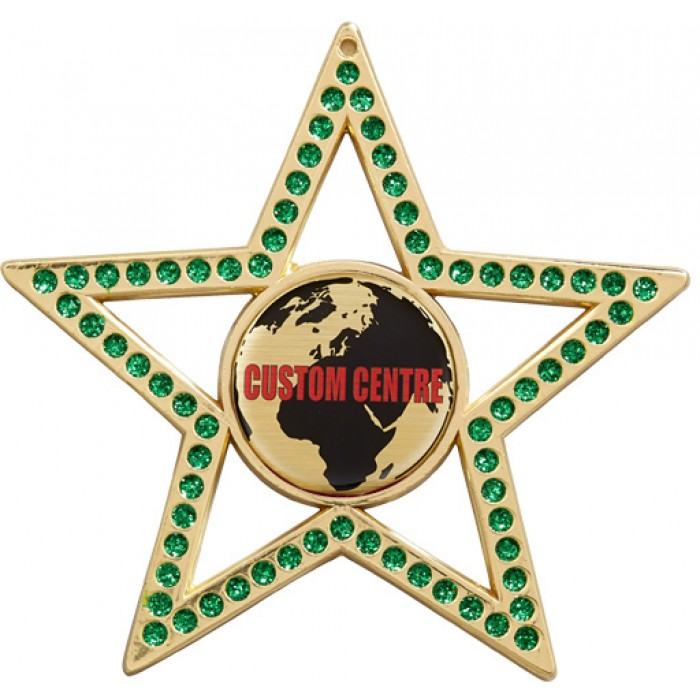 CUSTOM CENTRE GREEN STAR MEDAL -  75MM - GOLD, SILVER OR BRONZE