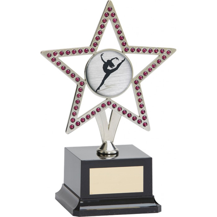 10'' SILVER METAL STAR WITH PURPLE GEMSTONES - CHOICE OF SPORTS CENTRE