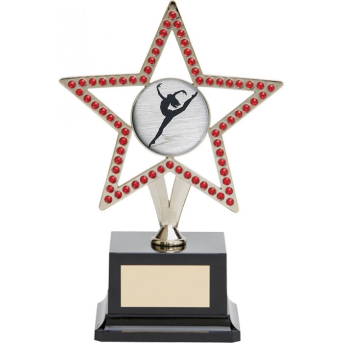 10'' SILVER METAL STAR WITH RED GEMSTONES - CHOICE OF SPORTS CENTRE