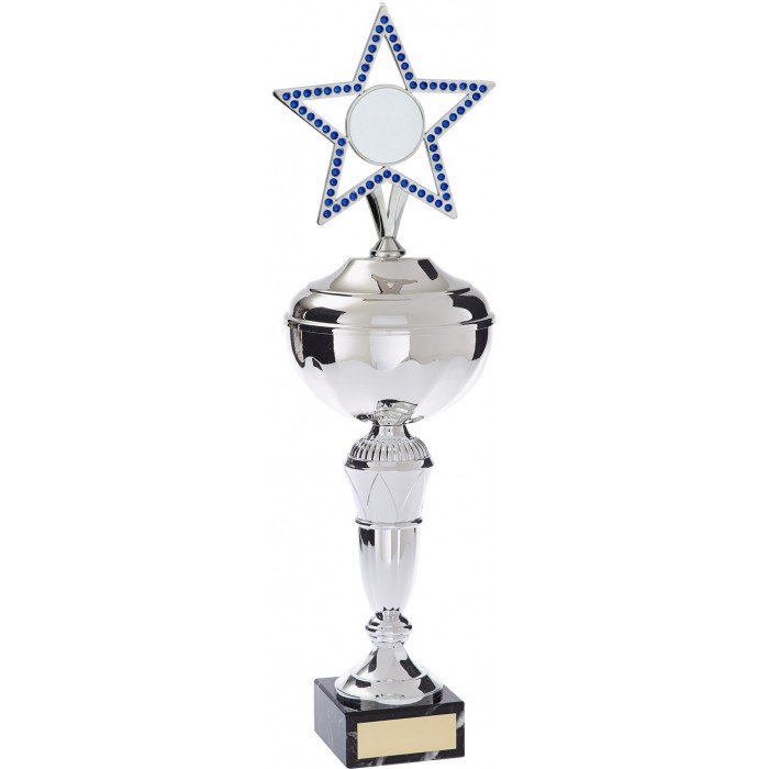 MULTI SPORT GEM STAR METAL TROPHY WITH CHOICE OF SPORTS CENTRE  - AVAILABLE IN 4 SIZES AND COLOURS