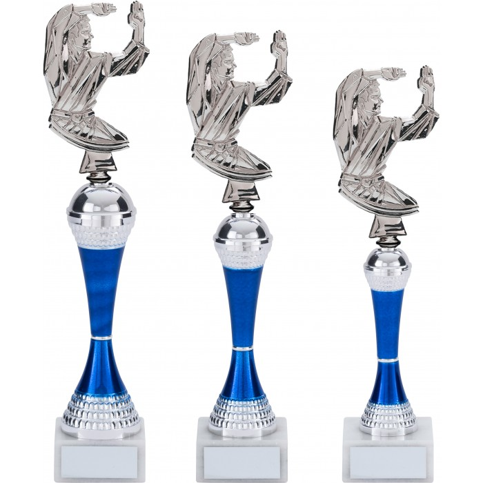 COLOURED TAEKWONDO TROPHY - 3 SIZES / 5 COLOURS