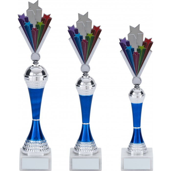 GYMNASTIC TROPHY COLOURED RISER WITH METAL FIGURE - 3 SIZES / 5 COLOURS