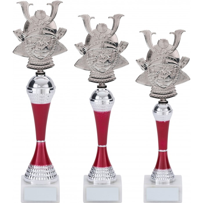 SAMURAI HEAD TAEKWONDO TROPHY - WITH COLOURED RISER - 3 SIZES / 5 COLOURS