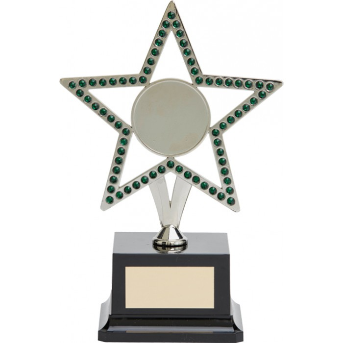 10'' SILVER METAL STAR WITH GREEN GEMSTONES - CHOICE OF SPORTS CENTRE