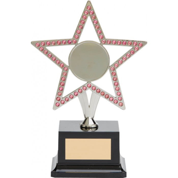 10'' SILVER METAL STAR WITH PINK GEMSTONES - CHOICE OF SPORTS CENTRE