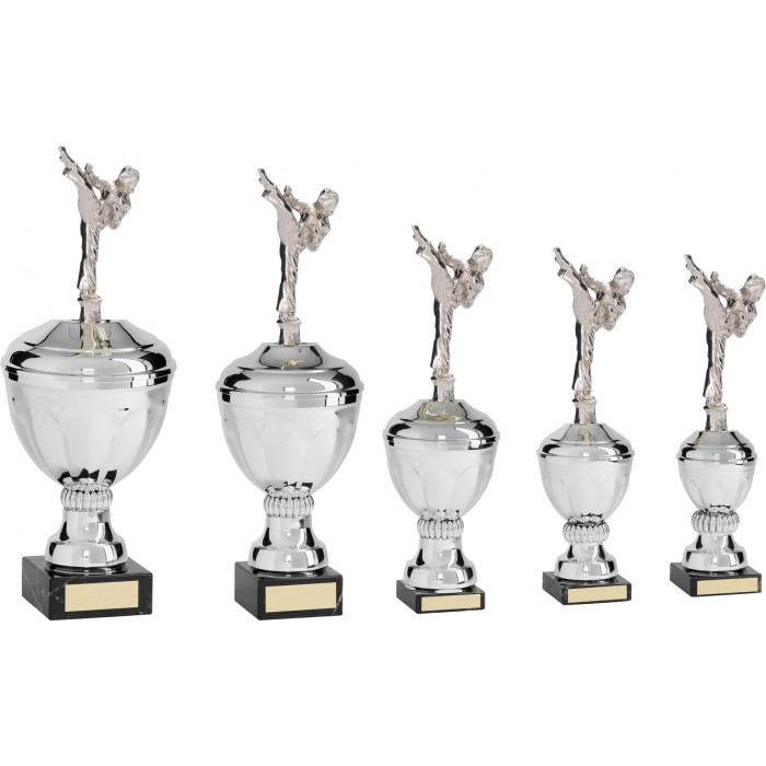 FEMALE ROUNDHOUSE METAL TAEKWONDO TROPHY  - AVAILABLE IN 5 SIZES