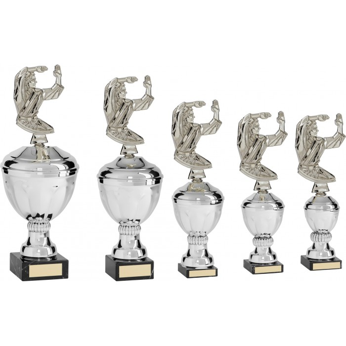 KATA & PATTERNS METAL TAEKWONDO TROPHY  - AVAILABLE IN 5 SIZES