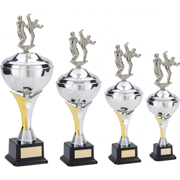 THAI BOXING TROPHY CUP WITH AXE KICK METAL PLAQUE - AVAILABLE IN 4 SIZES