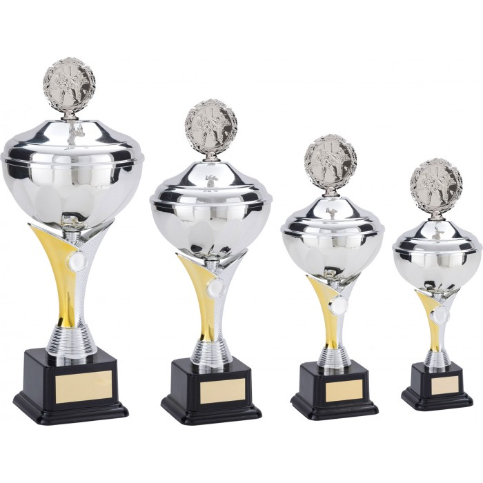 MULTI SPORT METAL TROPHY WITH CHOICE OF SPORTS CENTRE  - AVAILABLE IN 5 SIZES