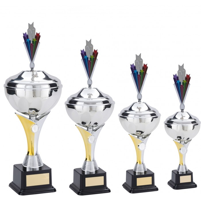 V-RISER CUP WITH METAL STARBURST PLAQUE - CHOICE OF SPORTS CENTRE - AVAILABLE IN 4 SIZES