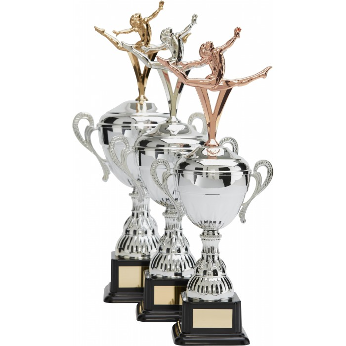 SILVER HANDLED GYMNASTIC CUP WITH GYMNASTIC METAL FIGURE - AVAILABLE IN 3 SIZES