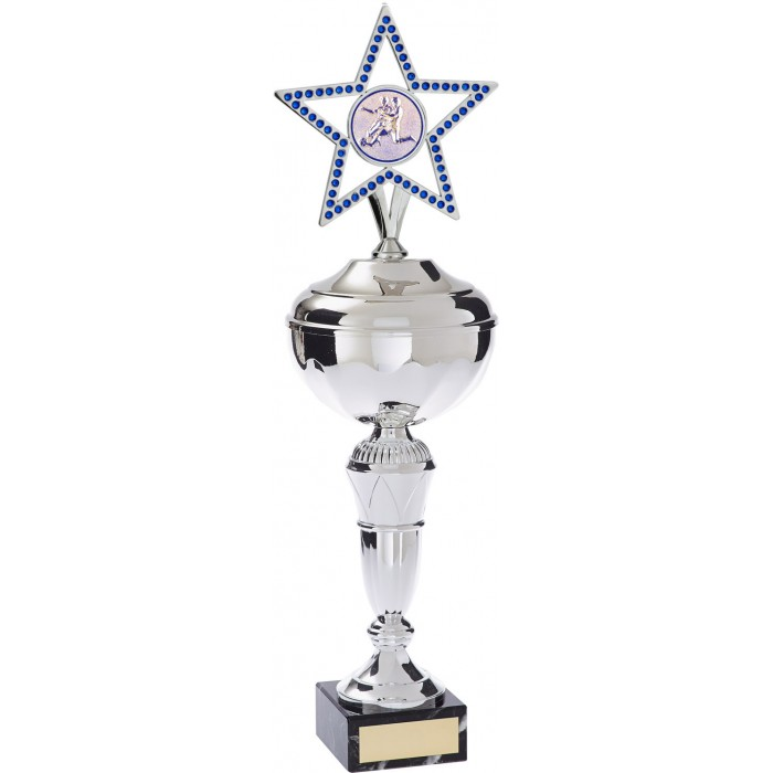GEM STAR METAL FOOTBALL TROPHY - AVAILABLE IN 4 SIZES AND COLOURS