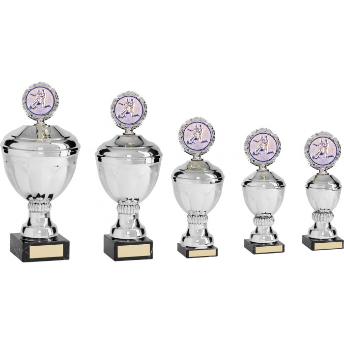 METAL FOOTBALL TROPHY WITH CHOICE OF SPORTS CENTRE  - AVAILABLE IN 5 SIZES