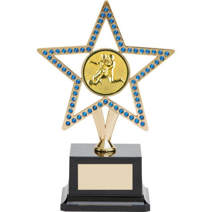10'' GOLD METAL STAR FOOTBALL TROPHY WITH BLUE GEMSTONES