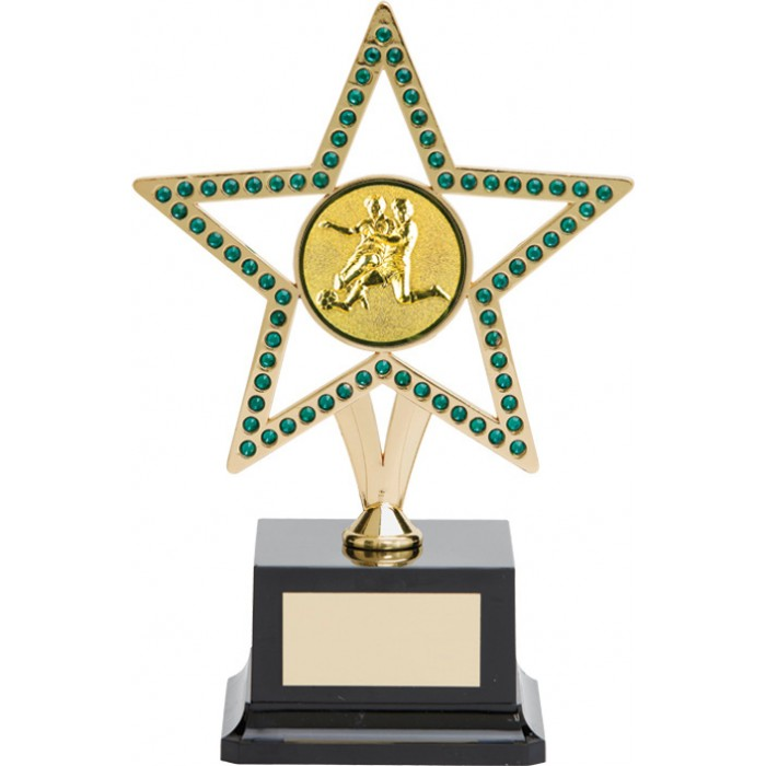 10'' GOLD METAL STAR FOOTBALL TROPHY WITH GREEN GEMSTONES