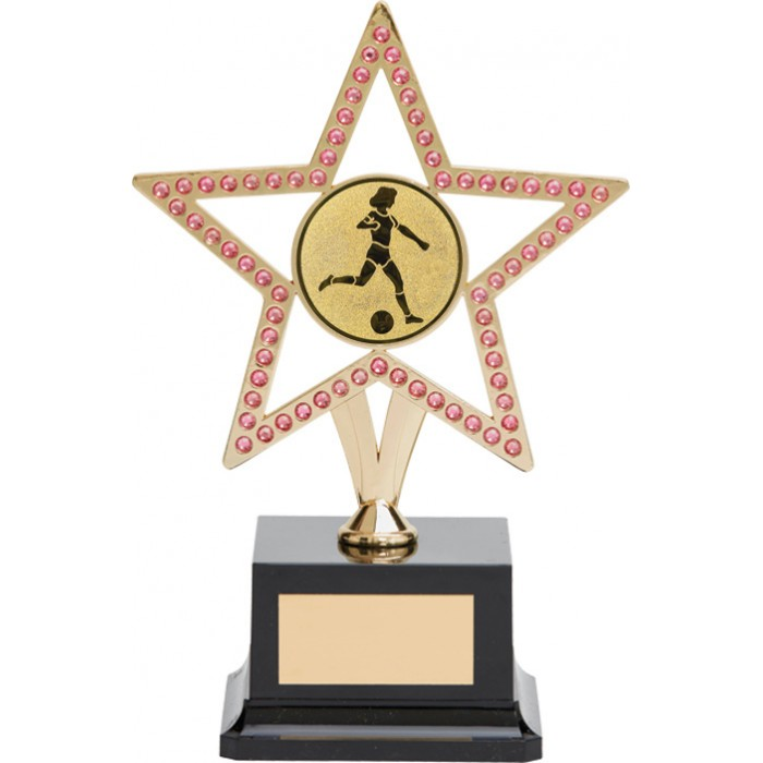 10'' GOLD METAL STAR FOOTBALL TROPHY WITH PINK GEMSTONES