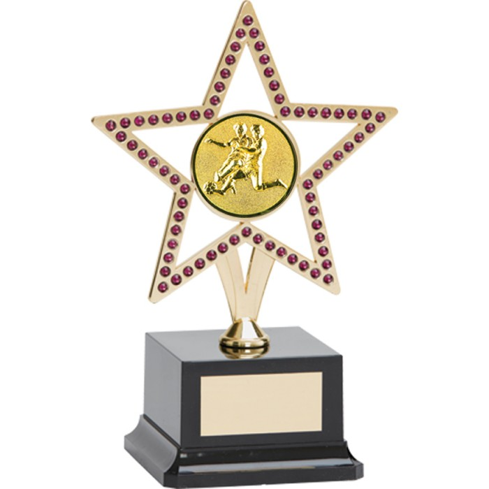 10'' GOLD METAL STAR FOOTBALL TROPHY WITH PURPLE GEMSTONES
