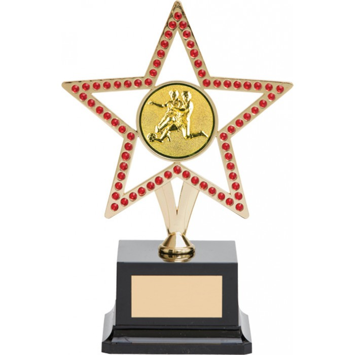 10'' GOLD METAL STAR FOOTBALL TROPHY WITH RED GEMSTONES