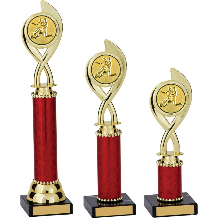 SWIRL FOOTBALL TROPHY - WITH CHOICE OF SPORTS CENTRE - 3 SIZES