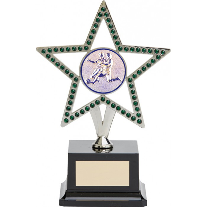 10'' SILVER METAL STAR FOOTBALL TROPHY WITH GREEN GEMSTONES