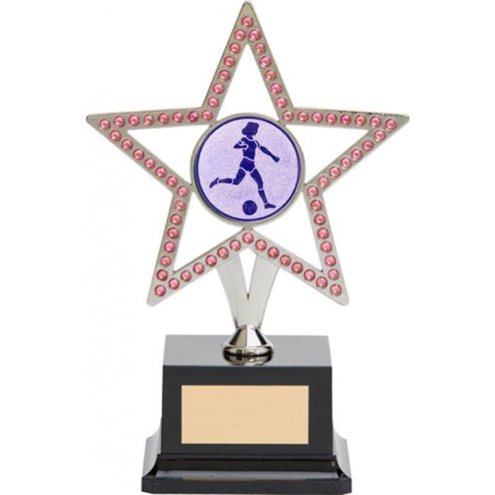 10'' SILVER METAL STAR FOOTBALL TROPHY WITH PINK GEMSTONES
