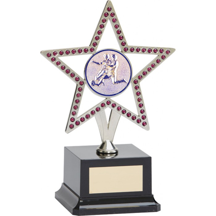 10'' SILVER METAL STAR FOOTBALL TROPHY WITH PURPLE GEMSTONES