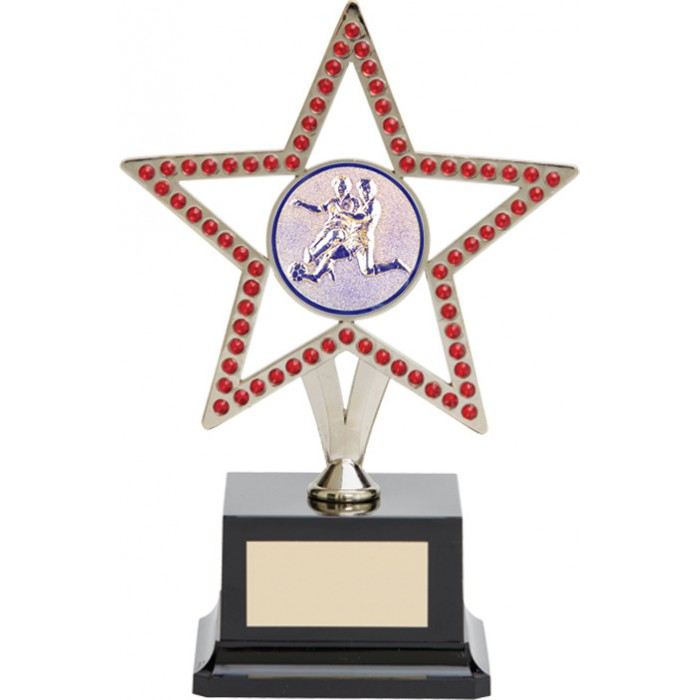 10'' SILVER METAL STAR FOOTBALL TROPHY WITH RED GEMSTONES