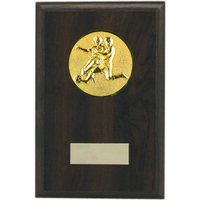 Budget wooden Football plaque 6'' - choice of sports centre