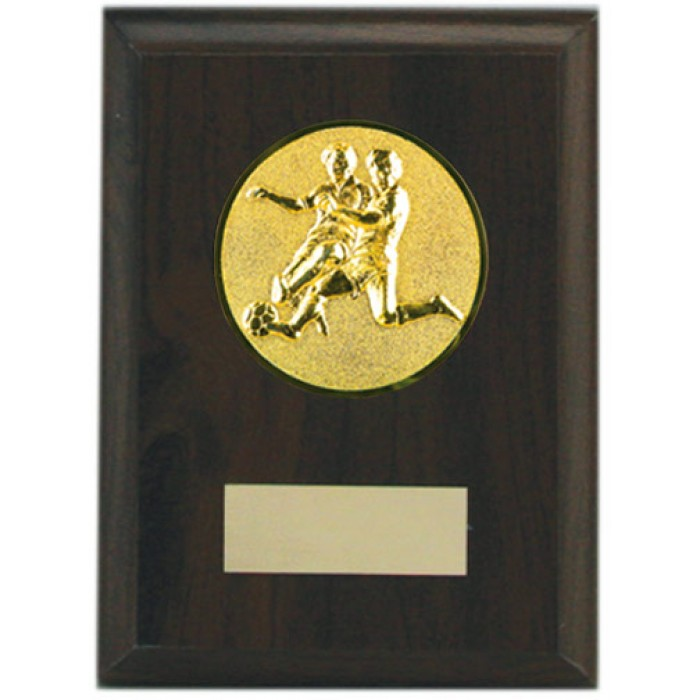 Budget wooden Football plaque 5'' - choice of sports centre