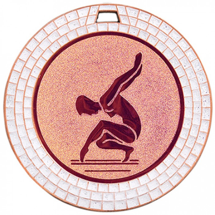 GEMSTONE FEMALE GYMNASTICS MEDAL - 70MM - BRONZE