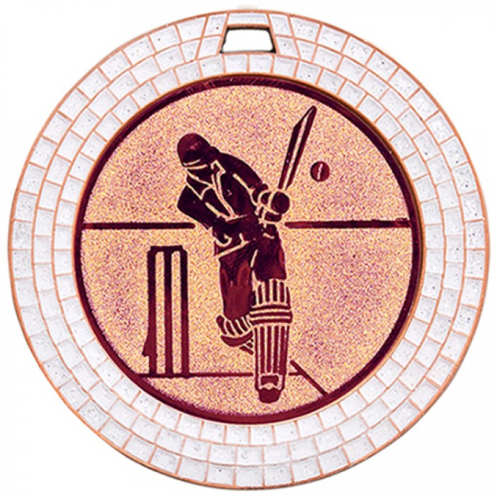 BRONZE 70MM CRICKET GEM MEDAL - WHITE GEM