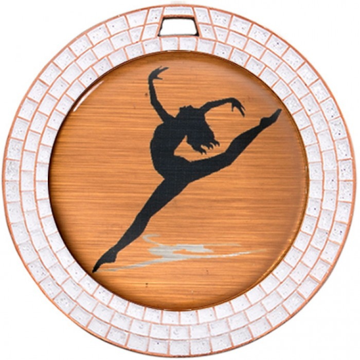 DANCE WHITE GEM MEDAL - 70MM - BRONZE